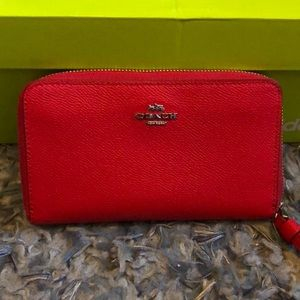 COACH wristlet in beautiful red leather. NWT
